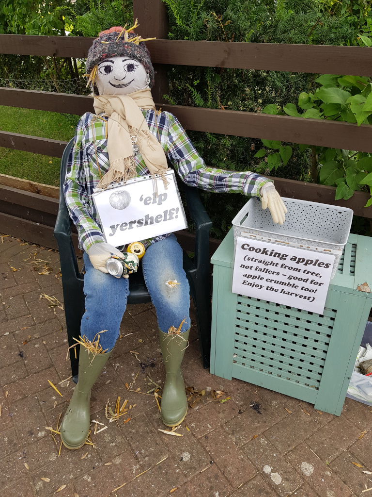 Scarecrow offering free apples